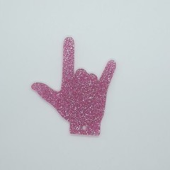 """""""I Love You"""" hand gesture Keyring - Acrylic Glitter Pink"""