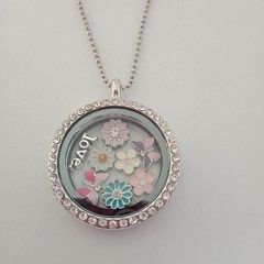 Silver bling floating charm necklace with flower and butterfly and love charms
