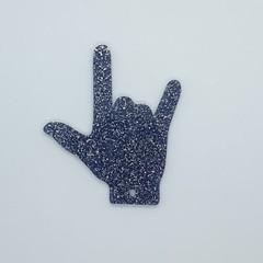 """I Love You"" hand gesture Keyring - Acrylic Glitter Dark Blue / Black"