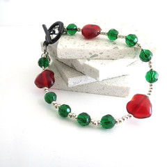 Camilla emerald green heart bracelet