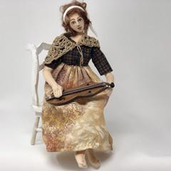 art doll, miniature dulcimer, Mountain girl