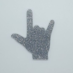 """""""I Love You"""" hand gesture Keyring - Acrylic Glitter Silver"""