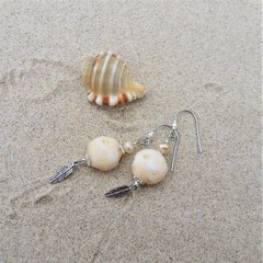Sandy cream lampwork glass beige earrings and feather charm