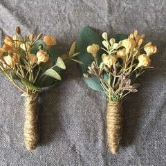 Rustic artificial flower buttonhole, boutonniere for groom and groomsmen