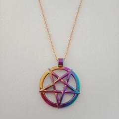 Gold pentagram multi-colored charm necklace