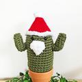 Dark Green Crochet Santa Cactus