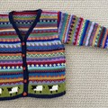 Navy Sheep Cardigan - Size 3-4 years- Hand knitted