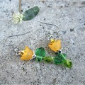 Sophia yellow rose dangle earrings