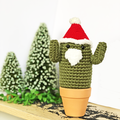 Dark Green Crochet Santa Cactus
