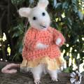 Needle felted mouse, Handmade felt rat,  crochet sweater