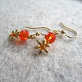 Fluer petite orange flowers drop earrings