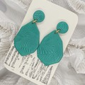 Jungle Green Clay Earrings | Textured with Flecks of Silver