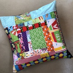 Retro Patchwork Cushion Cover - Blueberry