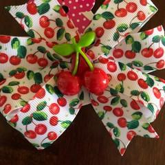 Cherry Pinwheel Bow with Embellishment