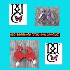 Dangle and stud earrings.