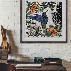 HUMMINGBIRD Original linocut by Australian Artist