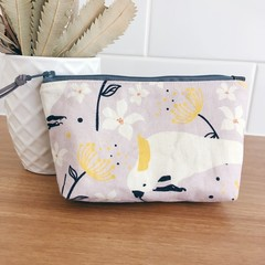 Small Pouch- Cockatoos and Linen