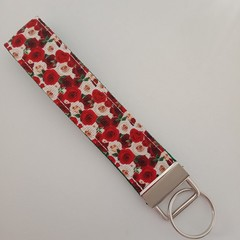 Red and white rose print key fob wristlet