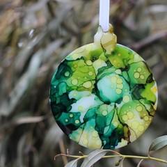 Australian Wattle Original Art Christmas Decorations -alcohol ink art on acrylic