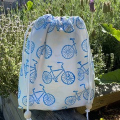 "Block printed drawstring bag | ""On ya bike""!"