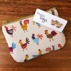 Chicken Wooden Earrings & Coin Purse Gift Set