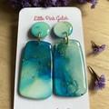 Aqua/Green Alcohol Ink and  Resin Dangle Earrings