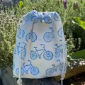 "Block printed drawstring bag | ""On ya bike""!"