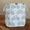 "Block printed drawstring bag   ""On ya bike""!"