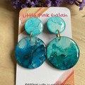 Turquoise Alcohol Ink and  Resin Dangle Earrings