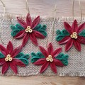 Set of 4 Red Poinsettia Quilled Tree Decorations