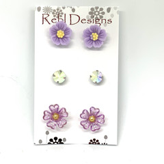 Set of 3 Stud Earrings - Florals and Rhinestones