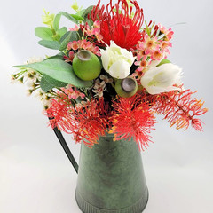 Artificial Australian Native Flower Arrangement in Green Jug - Christmas Gift