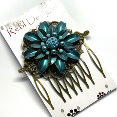 Hand Painted Floral Hair Comb - Teal