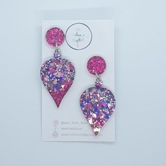 Christmas Dangles - Pointy Baubles: Dark Pink + Clueless