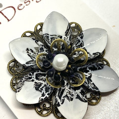 Hand painted Black & White brooch