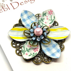 Hand coloured patterned brooch