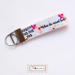 Pink Floral Sweary Keyring Key Fob