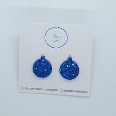 Christmas Bauble Studs - Dark Blue