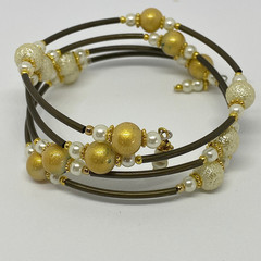 Yellow and Bronze Memory Wire Bracelet
