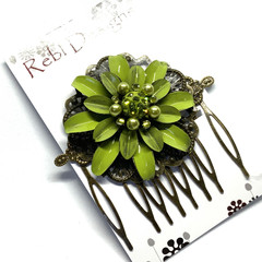 Hand Painted Floral Hair Comb - Lime Green