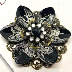 Hand painted Black & Silver brooch