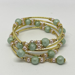 Pale Pink and Green Pearl Memory Wire Bracelet