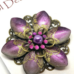 Hand painted Gold and Purple brooch