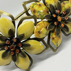 Hand painted Flower Headband in Yellow