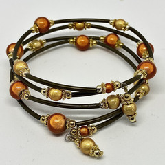 Yellow, Orange and Bronze Memory Wire Bracelet