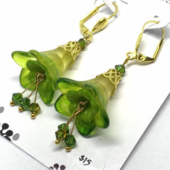Shades of Green Flower Earrings