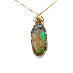 Andamooka Opal 14k gold filled wire wrapped pendant