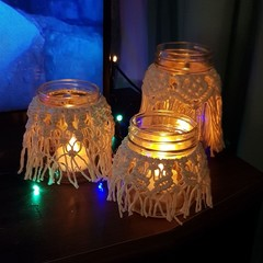 Handmade Macrame Jar Covers, set of 3