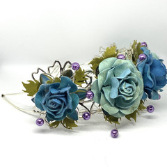 Paper flower headband in Shades of Blue