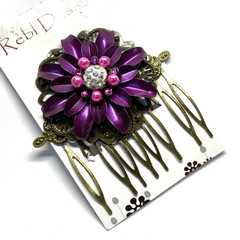 Hand Painted Floral Hair Comb - Purple